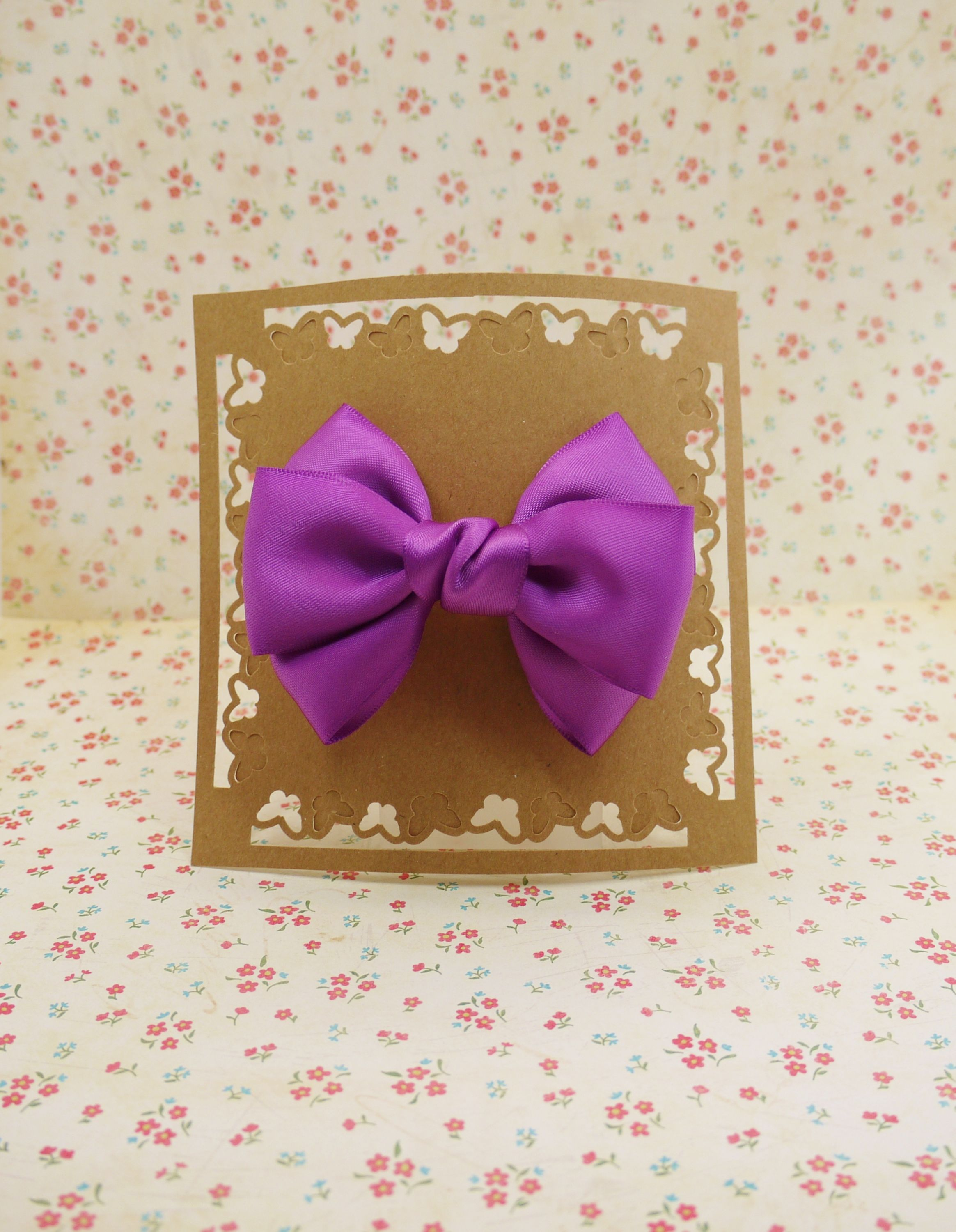 Handmade boutique hair bow in Purple to Large French Clip #LF003