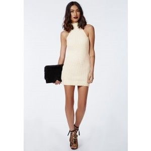 Alarna Racer Neck Knitted Dress Cream - Knitwear - Missguided