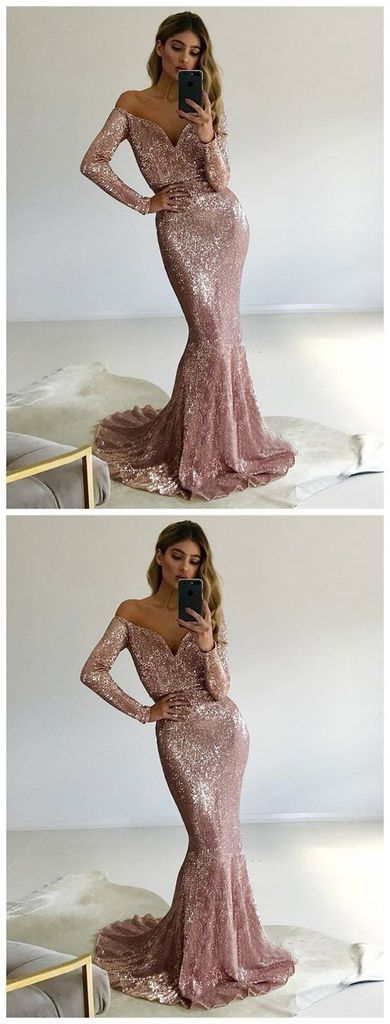 Long Prom Dresses With Sleeves, Pink Formal Dresses Mermaid, 2019 Military Ball Dresses Sparkly, D0214 #modestprom