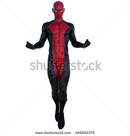 one young superhero man with muscles in red black super suit. He is in the posture of flight. His fists are clenched. A stern look directed at the camera. 3D rendering, 3D illustration
