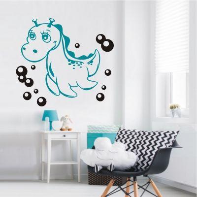 Cute deko shop de Wandtattoo Baby Drache Bubbles farbig