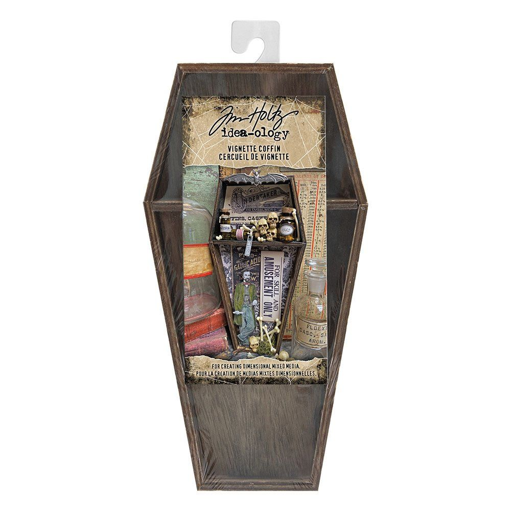 Your Halloween projects will definitely have the creep factor when you use the Vignette Coffin designed by Tim Holtz for Idea-ology. Included in the package is one wooden coffin.