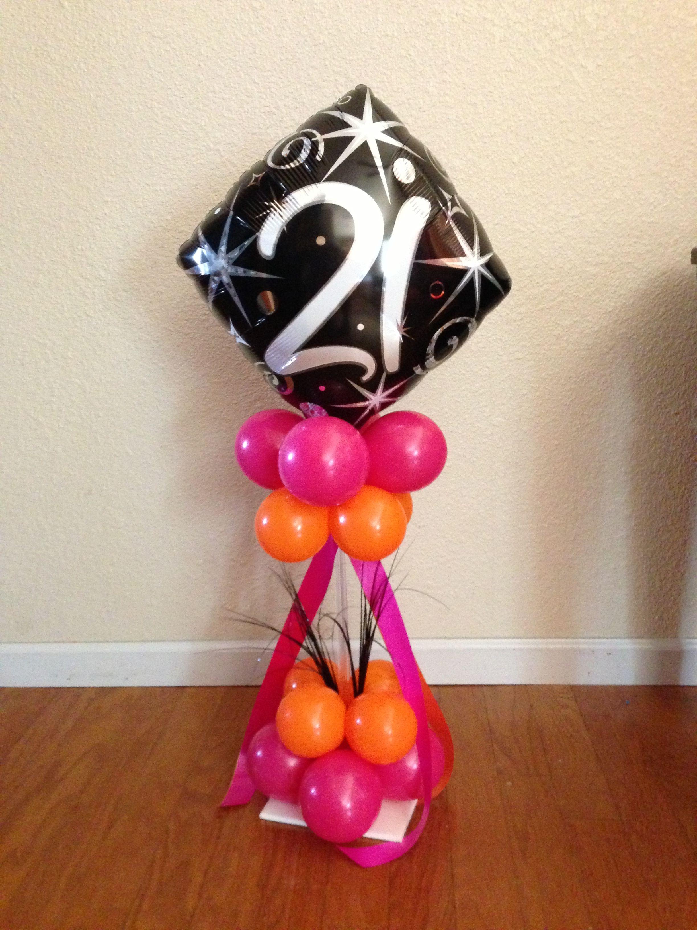 21st Birthday Centerpiece Milestone Birthday Balloon Decor