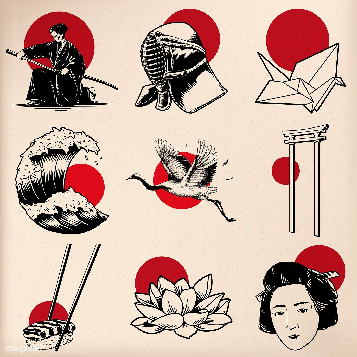 Download Premium Vector Of Japanese Tradition Style Vectors 60998 Japanese Tattoo Art Japanese Illustration Japanese Tattoo