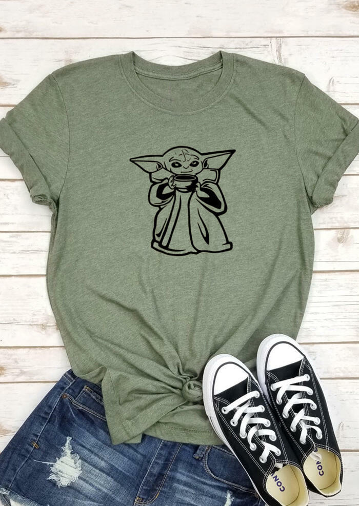 Star Wars Yoda ONeck TShirt Tee Army Green Touchshe