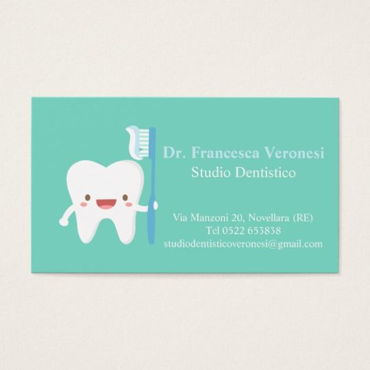 Cute tooth with toothbrush dental business cards dental business cute tooth with toothbrush dental business cards reheart Choice Image