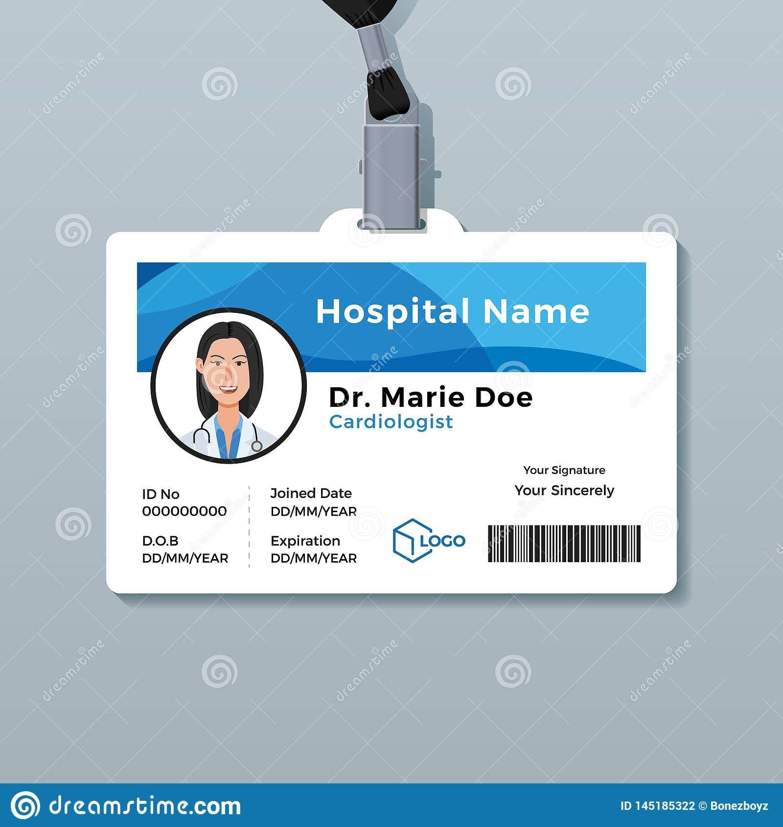 Medical Information Custom Id Badge 1 Id Card Template Card Template Card Templates