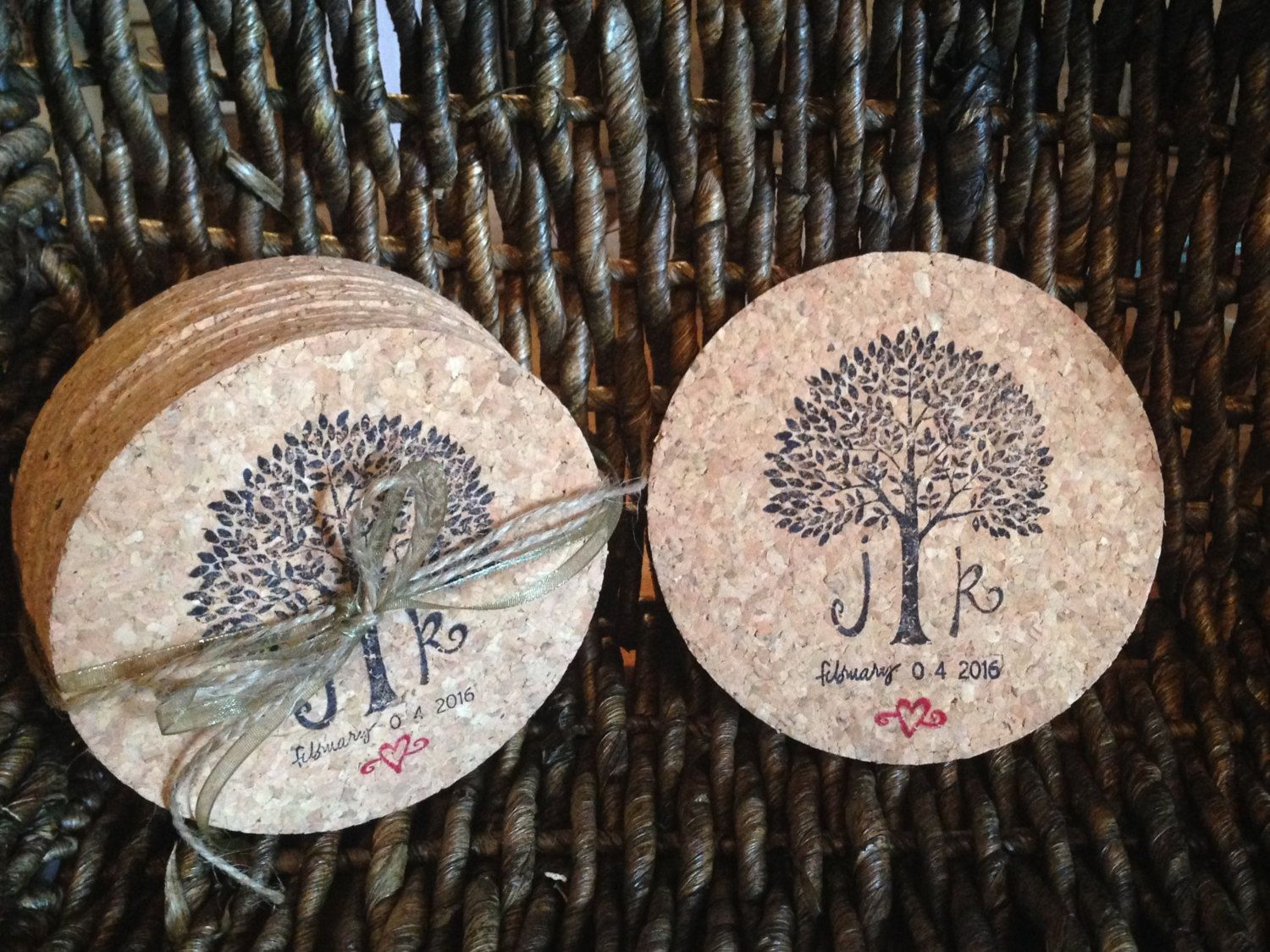 25 Wedding Favor Coasters, Tree Coasters, Round Stamped Cork Coasters, Custom Wedding Coasters, Wedding Party Favors, Personalized Coasters by KaraShareeCollection on Etsy