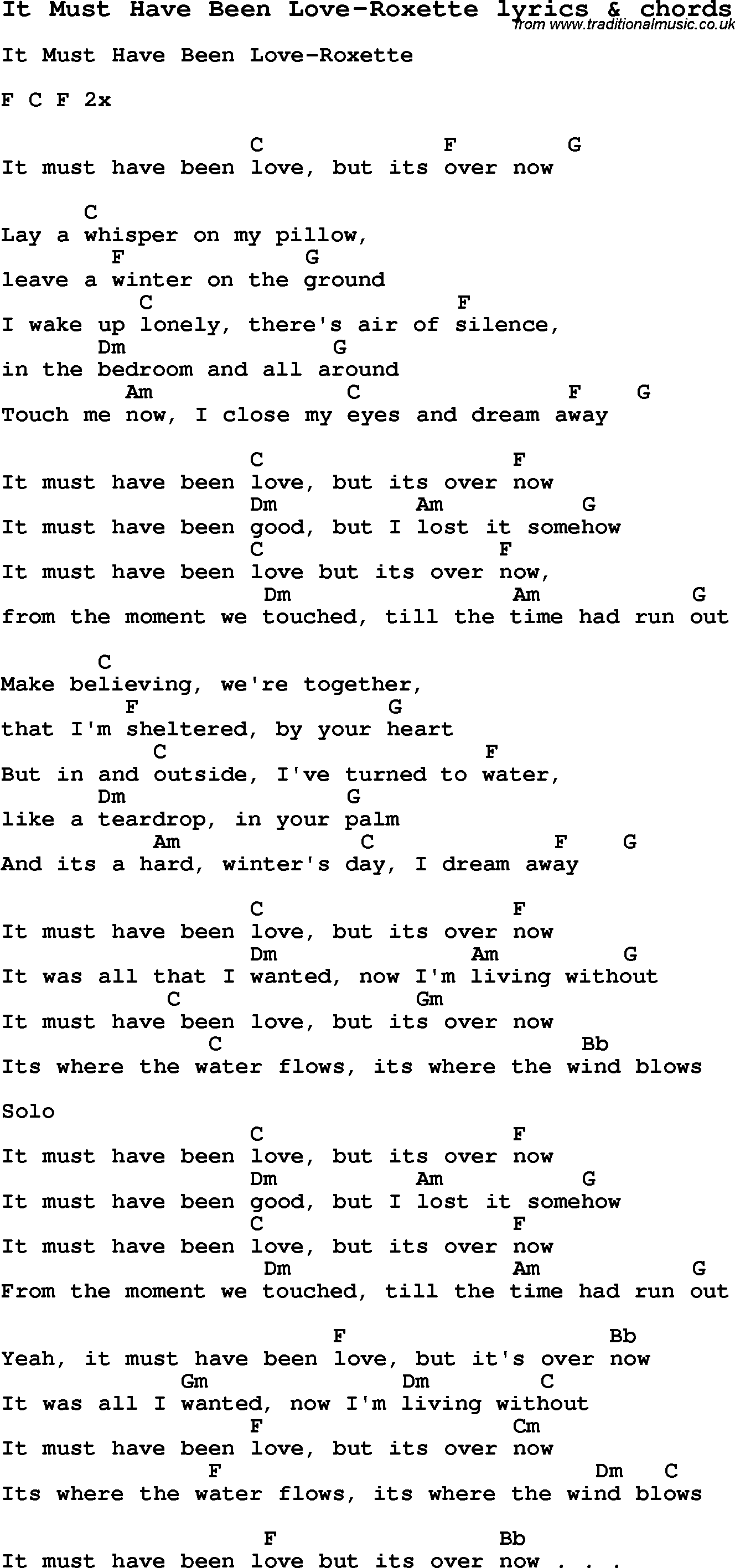 Love song lyrics for it must have been love roxette with chords love song lyrics for it must have been love roxette with chords for ukulele hexwebz Choice Image