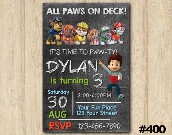 Paw Patrol Birthday Invitation - All paws on Deck, it's the Paw ...