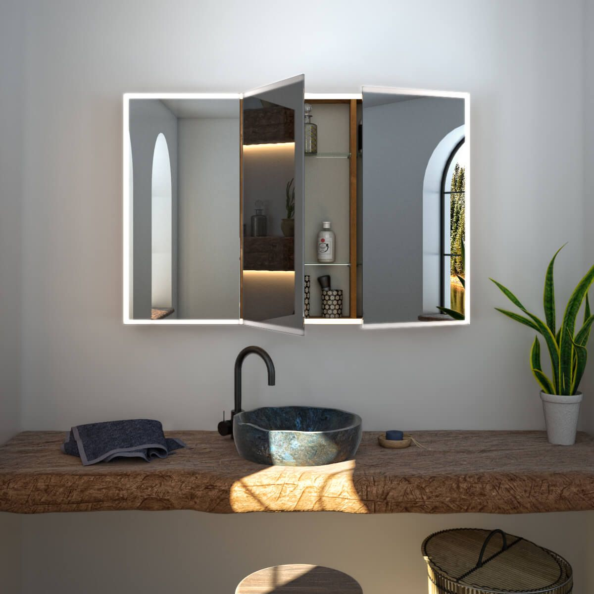 Badezimmer eitelkeiten 60 einzel waschbecken spiegelschrank nach maß mit led credo u bild   wohnung in
