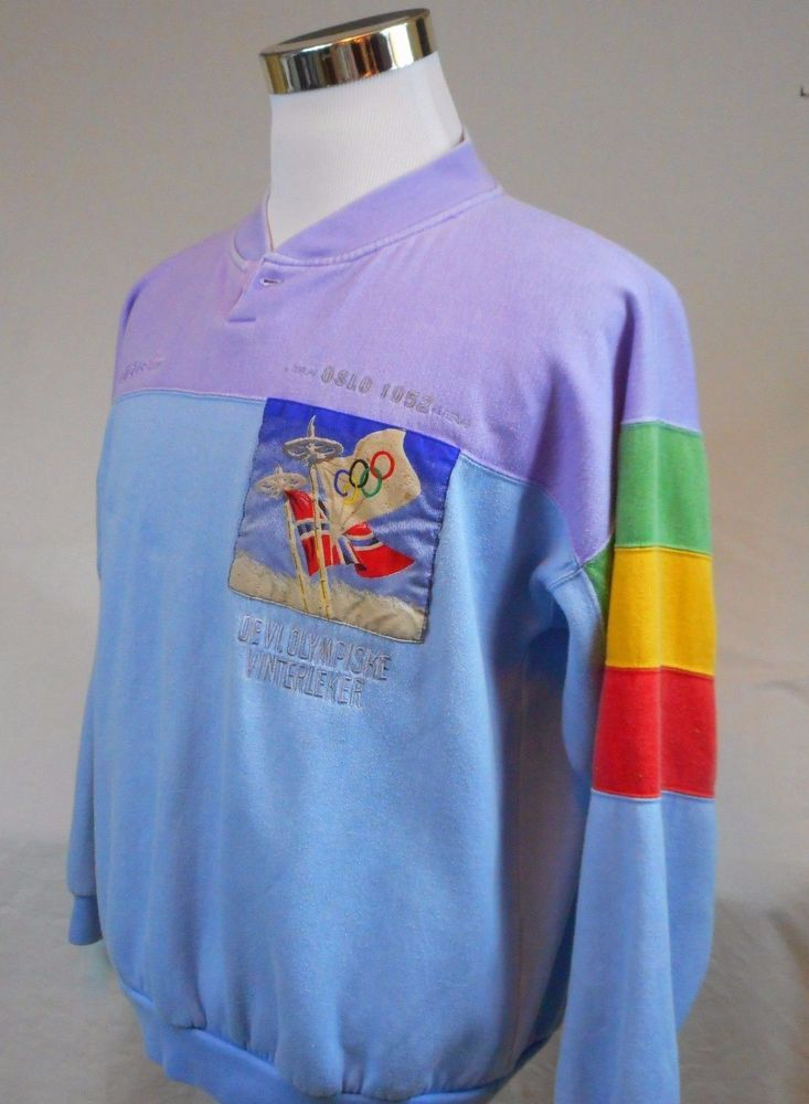 7c5136875bf3e Details about Vintage Adidas Olympic Sweat Shirt Size Large