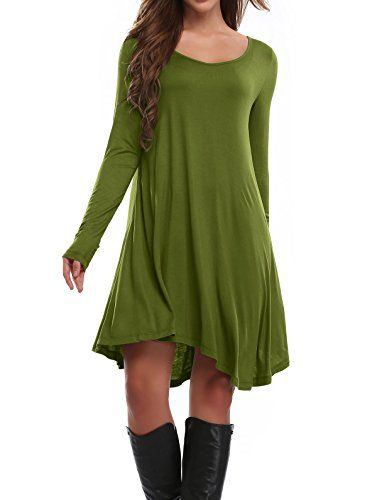 Womens Long Sleeve Casual Loose Fashion TShirt Dress *** Continue to the product at the image link.Note:It is affiliate link to Amazon.