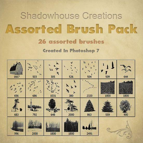 Assorted-Brush-Pack-banner Birds, Trees, Barns