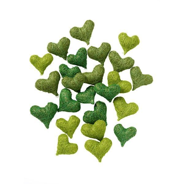 Sisalherzen, grün, 24 St | Hochzeitsdeko, Grün und Dekoration
