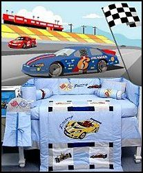 Race Car Mural Zoom Baby Crib Nursery Bedding