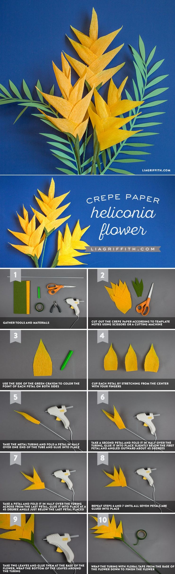 DIY Crepe Paper Heliconia Flowers - www.LiaGriffith.com - #paperflowertutorial #PaperFlowers #PaperFlower #FlowerTutorial #DIYTutorial #CrepePaperRevival #CrepePaperFlowers #TropicalFlowers #botanical