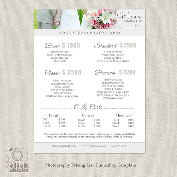 Wedding Photography Package Pricing List Template - Photography