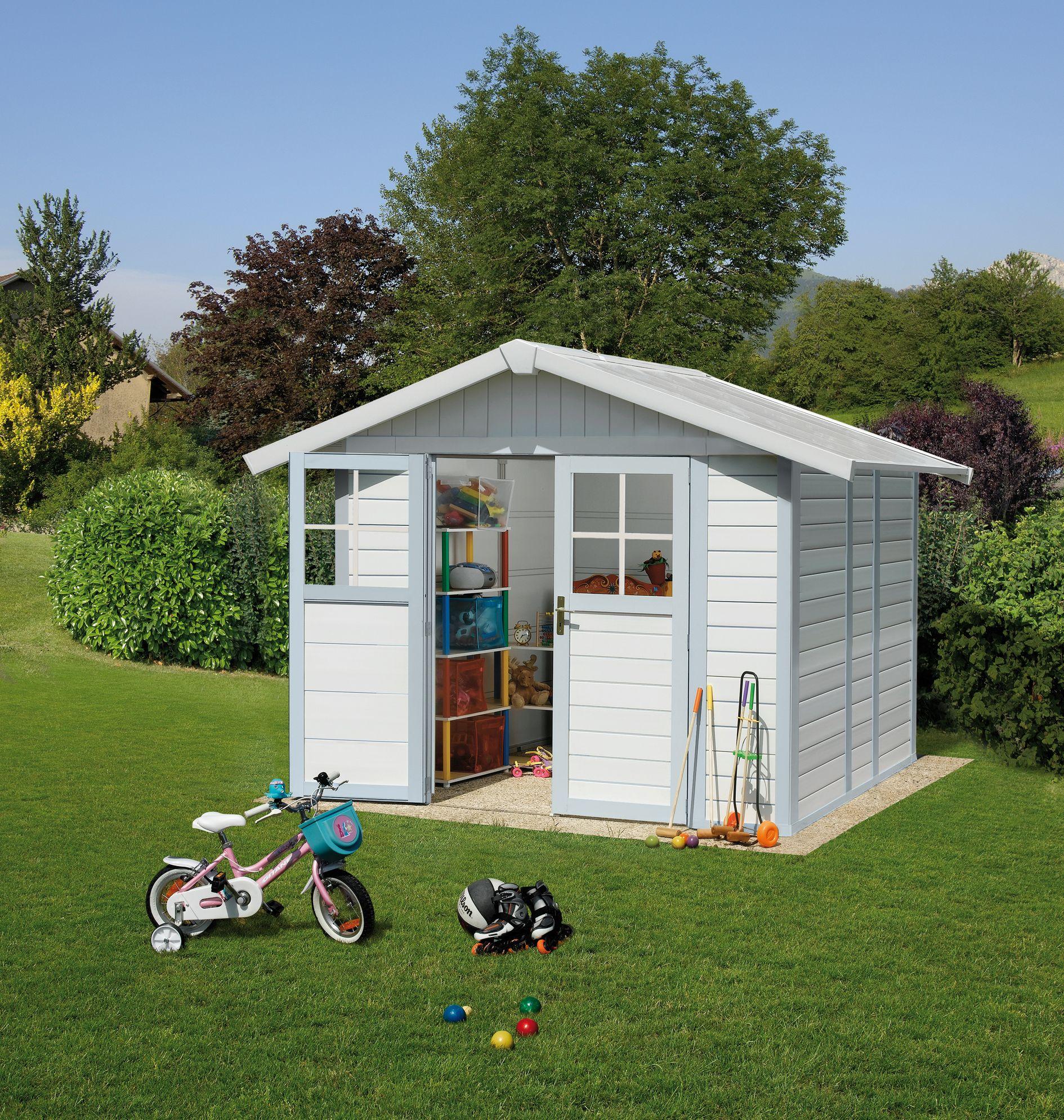 Abri de jardin Grosfillex déco 7.5m² gris/bleu | Abri de jardin ...
