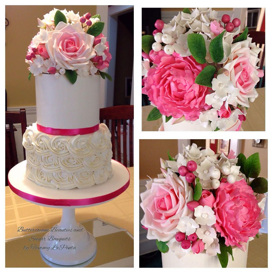 Buttercream beauty and sugar bouquet cake by tammy lapenta