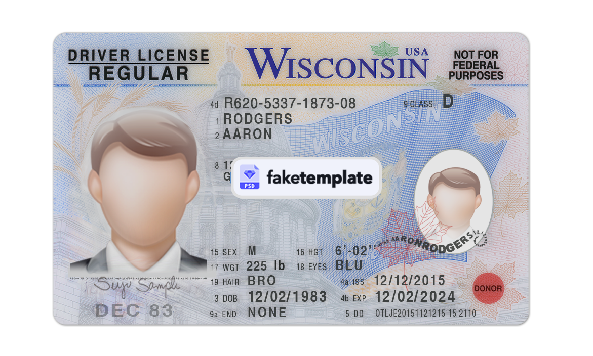 Download Wisconsin Fake Driver License Id Card Template Fake Id Template Editable Psd Drivers License Id Card Template Psd Templates