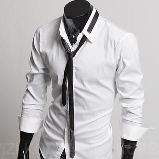 Tie shows on outside of collar :3 Set: Dress Shirt   Skinny Tie ...
