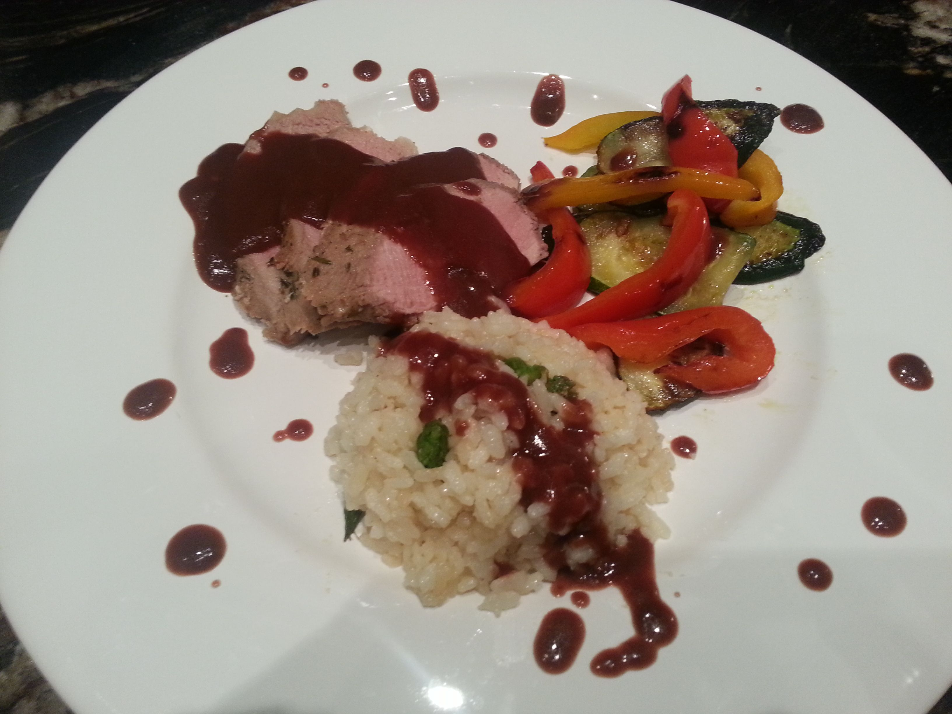 Roast Pork Tenderloin With Red Wine Reduction Risotto With Parmesan And Asparagus Grilled Veg Roasted Pork Tenderloins Red Wine Reduction Pork Roast