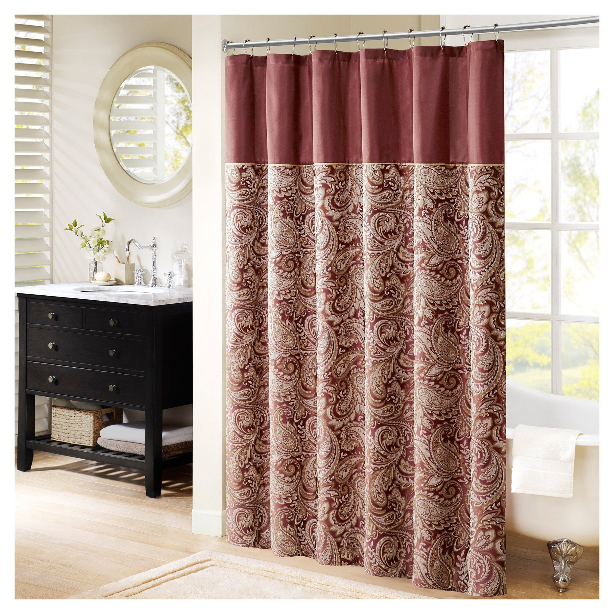 Paisley Shower Curtain Burgundian Wine