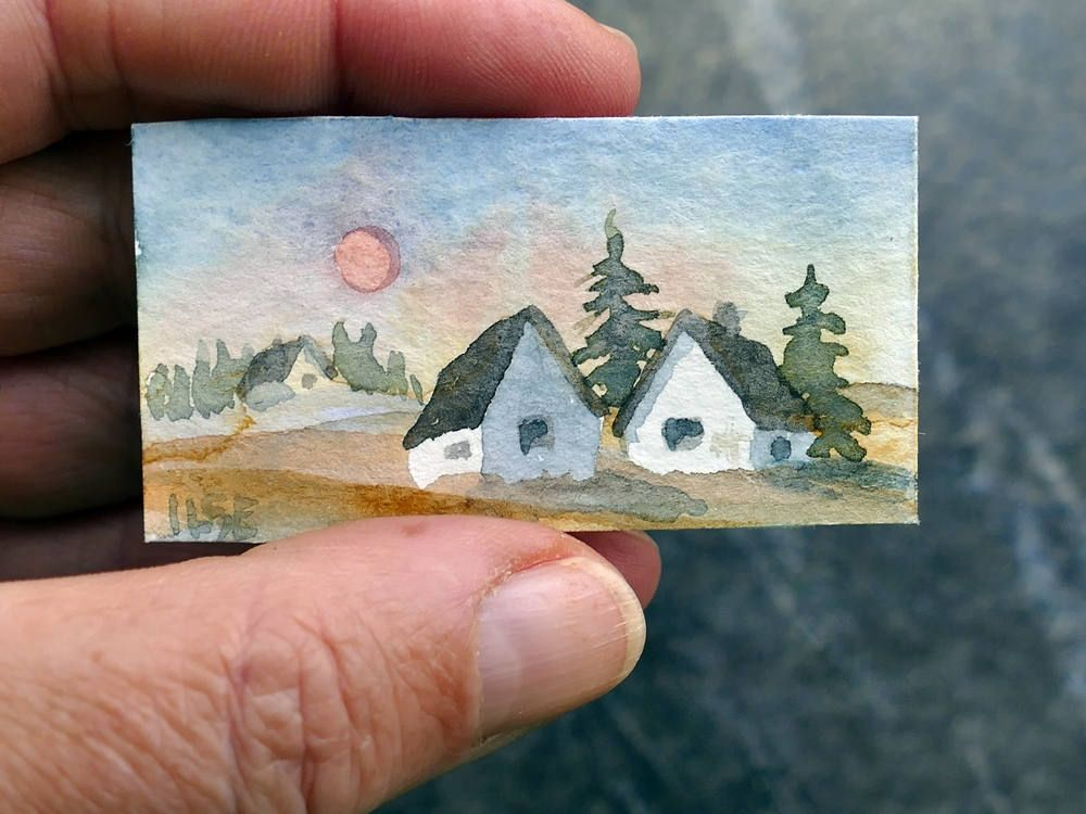 Tiny Landscape Watercolor Painting For Doll House Paper