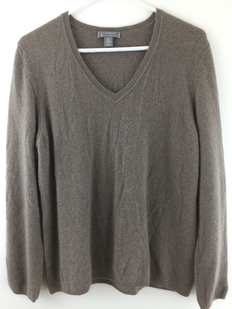 97310e0c01d7 Cashmere Sweater Womens XL L 2-ply Charter Club Pullover Knit Warm ...