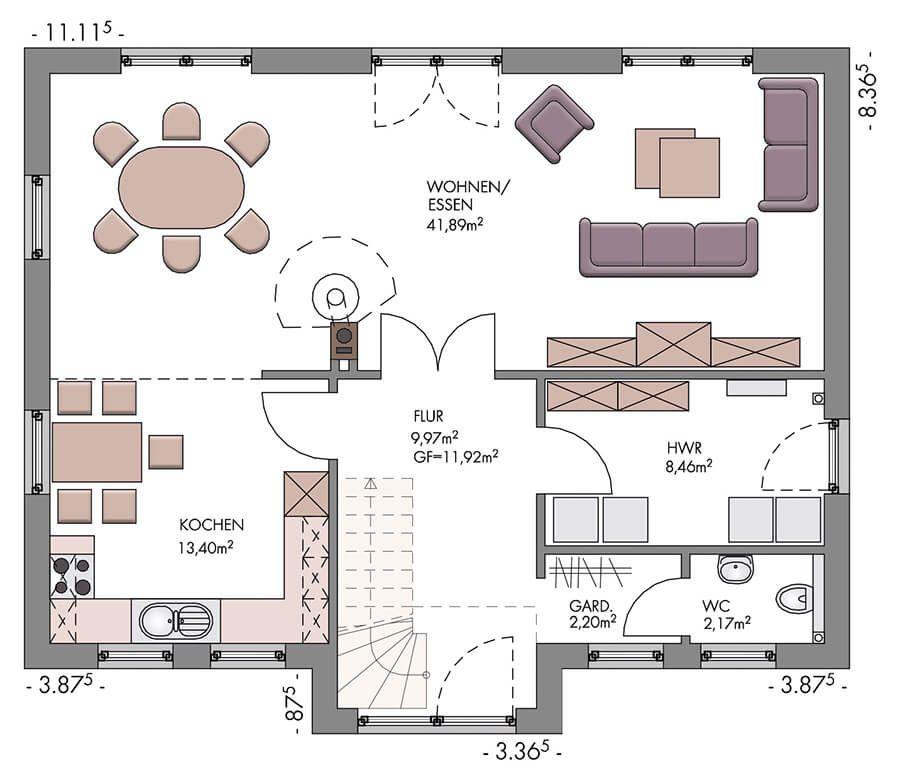 Einfamilienhaus im Landhausstil Grundriss Erdgeschoss