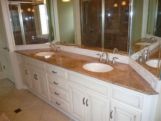 Mocha Travertine Oro Vanity Top With Tsati Undermount Bowls Vanity Top Cultured Marble Vanity Tops Marble Vanity Tops