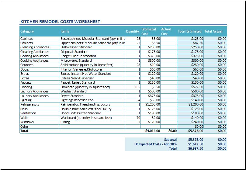 Kitchen Cabinet Cut List Excel