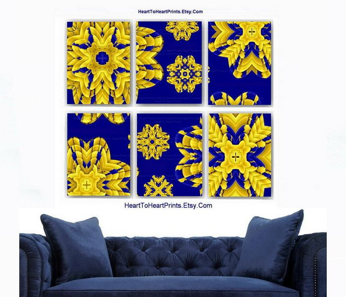 Floral Wall Art Rustic Gold Navy Home Decor Vintage Wall Decor ...