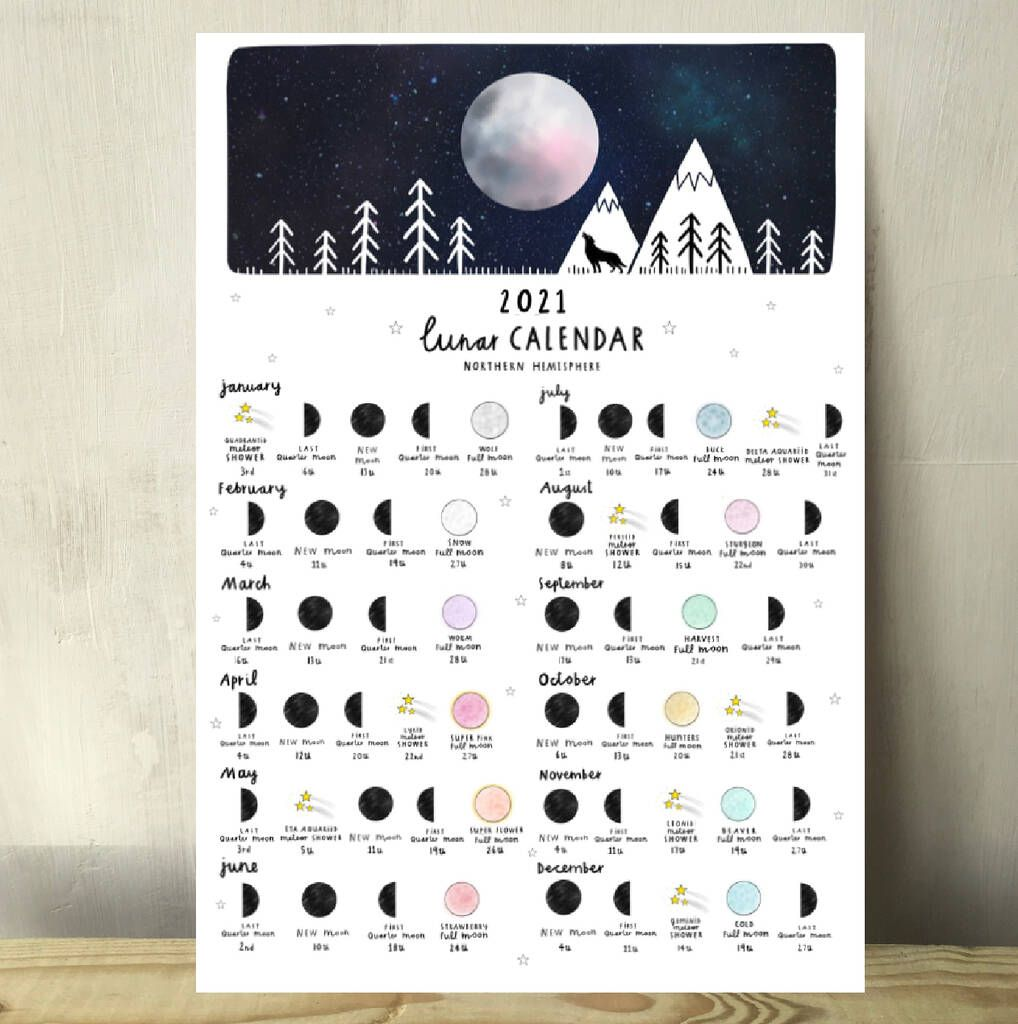 Lunar Moon Calendar And Meteor Showers A4 Print 2021 in 2020