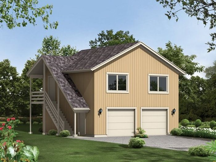 This garage floor plan offers a spacious apartment with a for 2 car garage with apartment above