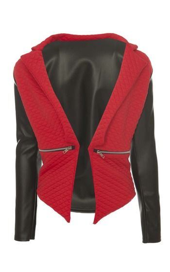 Editta Leatherette Sleeve Quilted Blazer