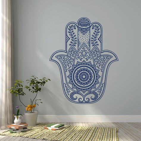 Hamsa mandala wall decal fatima hand wall decal stickers indian hamsa wall decal bohemian bedroom yoga studio decor hamsa wall art 32
