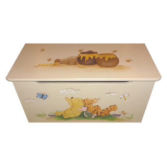 Childrens Toy Box Honey Pooh Bear And Tigger By Coopercreations 255 00 Baby Toy Box Childrens Toy Boxes Disney Themed Nursery