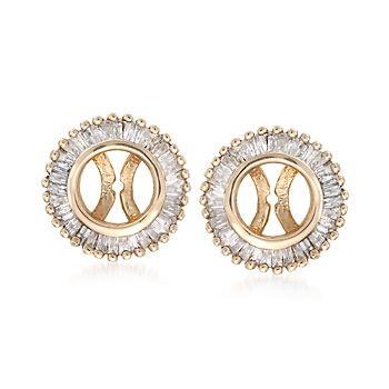 T W Baguette Diamond Earring Jackets In 14kt Yellow Gold Wear It With My Pearls