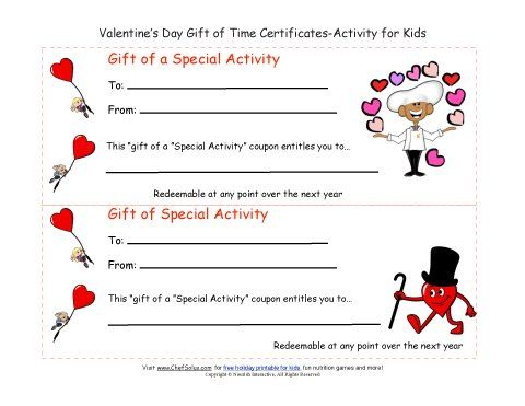 Cute ValentineS Day Gift Of Time Coupon Certificates  Gift