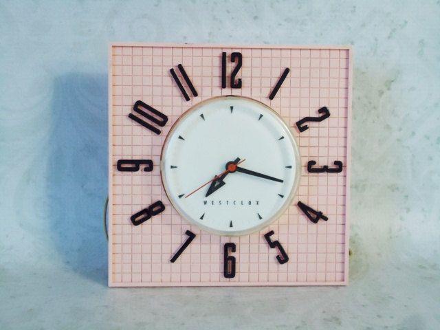 1950s Pink Westclox Kitchen Clock In Working Condition   Retro Kitchen Clock    Pink Wall Clock