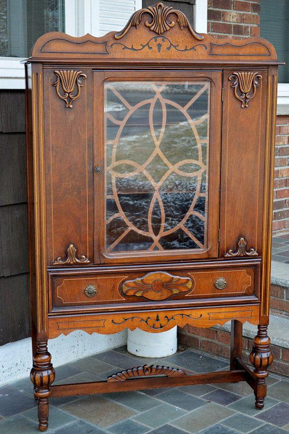 Vintage Furniture Glass Living Room Showcase Design Wood: 1920s Ornate Antique Hutch By VRDesigners On Etsy, $600.00