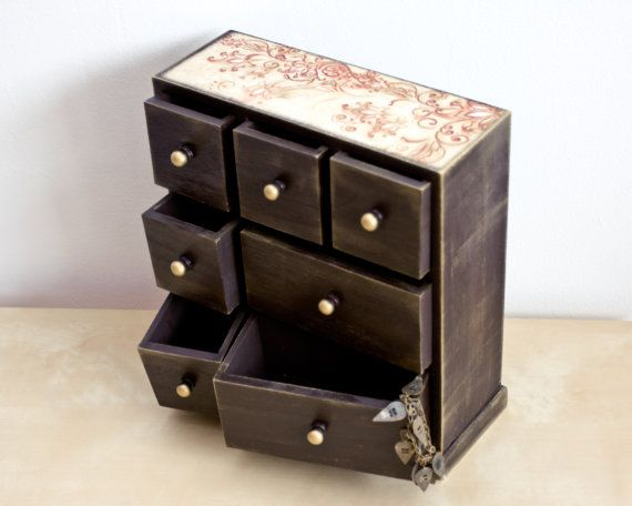Perfect Wooden Tabletop Cabinet Wood Dresser Jewelry Box By BeauMiracle, $84.00