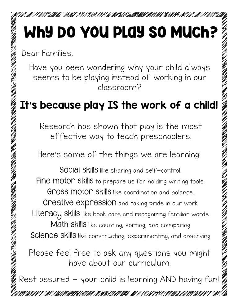 FREE Parent Handout This Is Actually Why We Play For my classroom