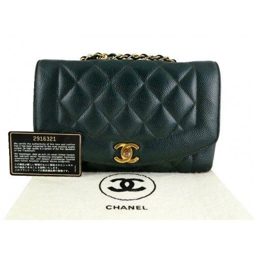 3fc0796d8d8a CHANEL Chanel Green Caviar Medium 2.55 Classic Diana Flap Bag, Rare $1,699