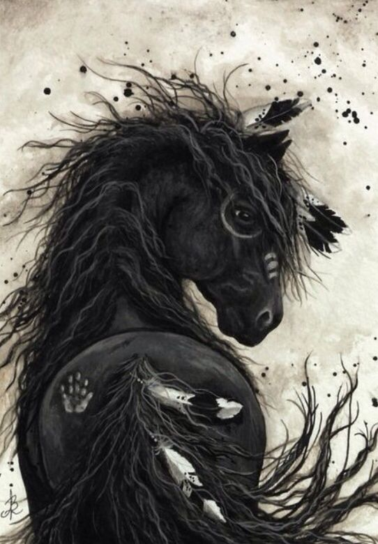 Illustration cheval indien horses art horses horse drawings et horse art - Dessin anime indien cheval ...
