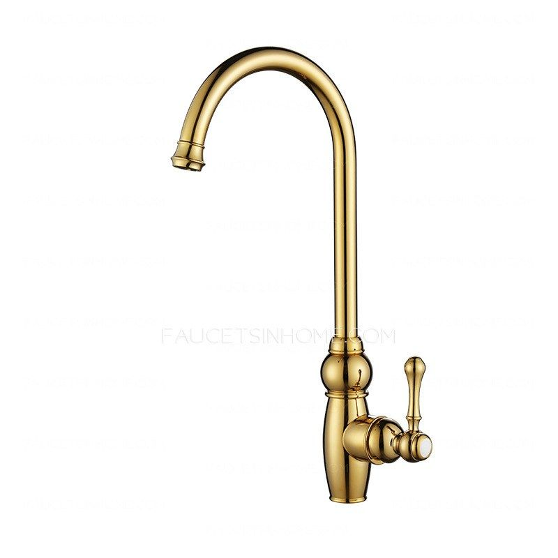 luxury golden high arc rotate brass kitchen sink faucets reviews ...