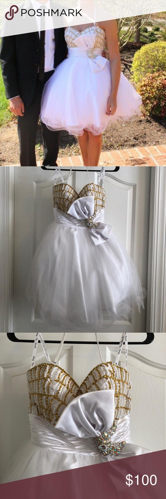 White and gold short prom dress pretty dresses pinterest gold