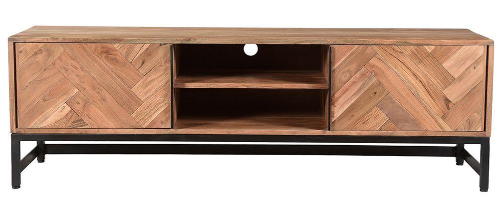 Meuble Tv Vintage Bois Noyer 180 Cm Hallen Meuble Mobilier De Salon Et Decoration Maison